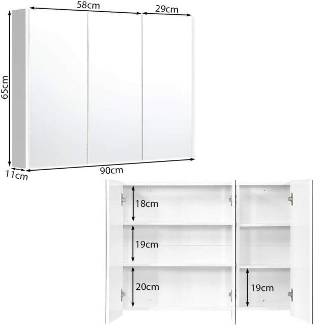 Spiegelschrank Badezimmerspiegel Mit Verstellbaren Ablagen 90x11x65 Cm Weiss Ebay