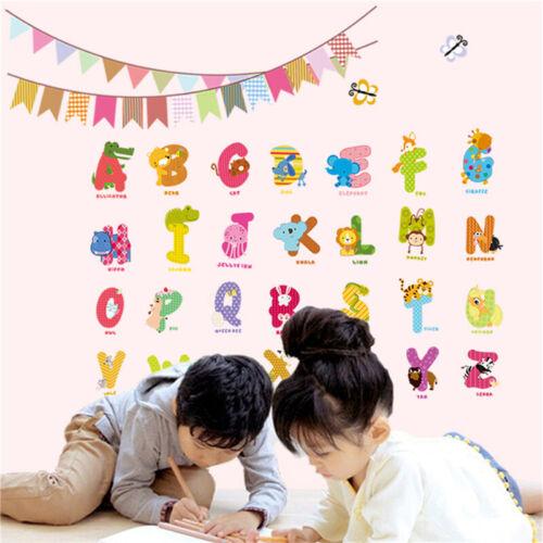 Cartoon Animals Kids Children Wall Stickers Bedroom Art Decal For Play Study FZ