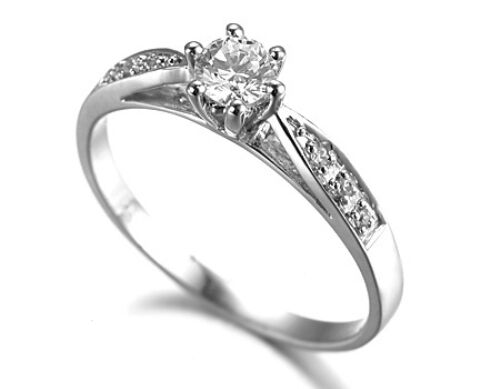 Sterling Silver 925 Simulated Diamond Claw Set Engagement Promise Ring Size 4 H
