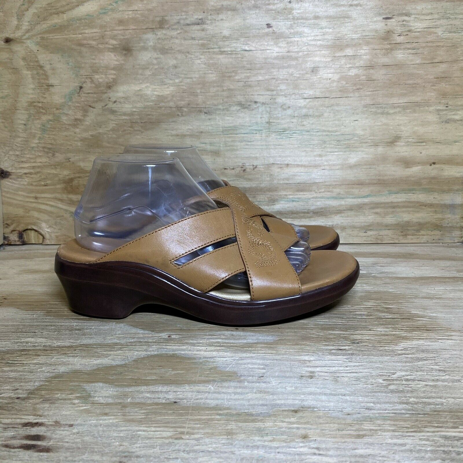 Ariat Leather Embroidered Slide Clog Sandals, Women's Size 9.5B, Brown Tan