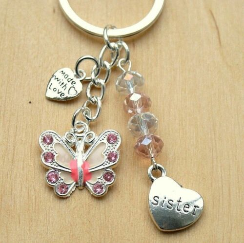 Sister Gift Keyring With Pink Butterfly /& Crystal New Bag Charm Keepsake LB89