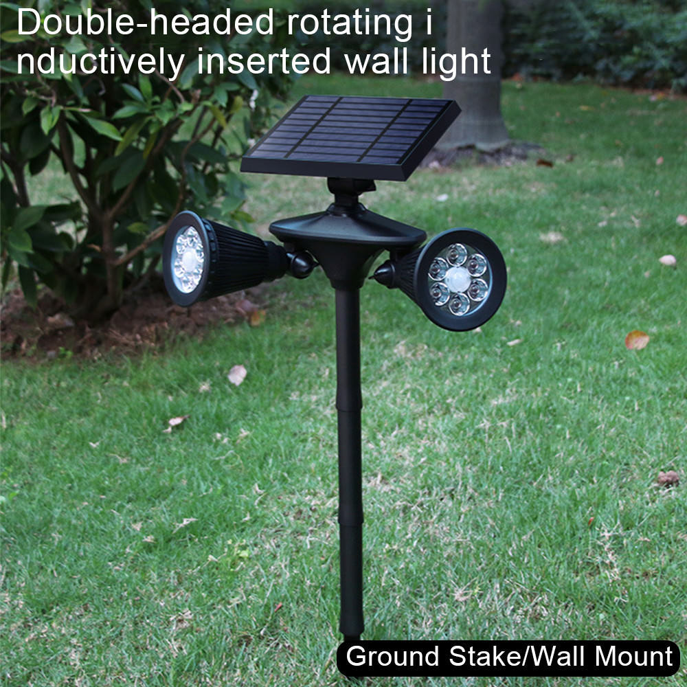 Doble 12 LED Luces Solares Sensor De Movimiento PIR Foco Lámpara de Parojo al Aire Libre
