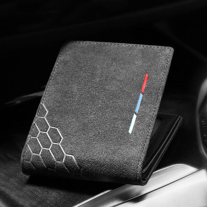 Car Alcantara For BMW Mercedes Wallet ID / Card Holder Bifold Men Purse Pouch