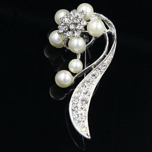 1 Pc Fashion Jewellery Clear Crystal Rhinestone Faux Pearl Flower Brooch Pin