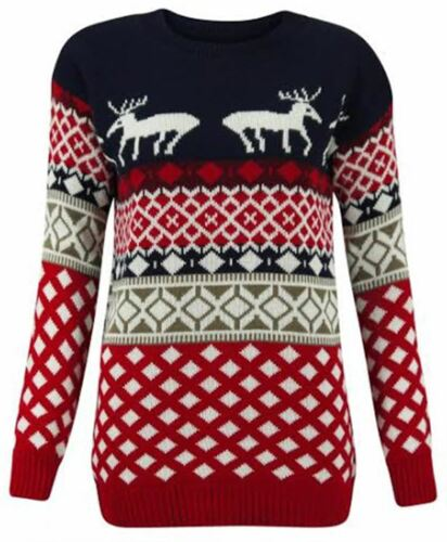 New Ladies Long Sleeve Christmas Knitted  Novelty Pudding Jumpers 8-26