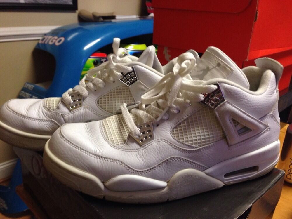 Men's NIKE AIR JORDAN RETRO 4 White Silver SZ 10.5 308497-102