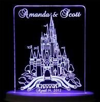 Personalized Wedding Cake Topper Fairytale Castle Optional Lcd Light Base 8 Cols