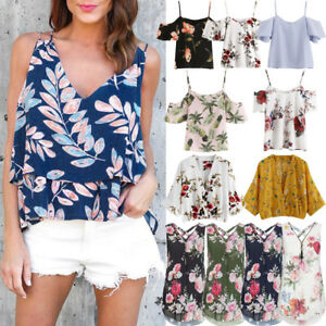 Womens-Summer-Autumn-Off-Shoulder-Chiffon-Printed-Blouse-Cold-Shoulder-Top-Shirt