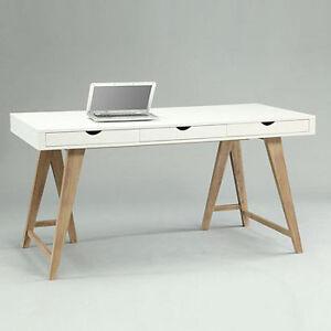Charming Das Bild Wird Geladen Schreibtisch ARIZONA Retro Design Tisch 3 Schubladen  Weiss