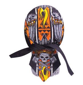 Black Orange Indian Chief Doo Rag Head Wrap Cap Biker Durag Sweatband Capsmith