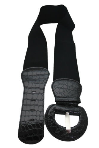 New Women Black Faux Leather Fashion Wide Belt Hip High Waist Big Buckle M L XL