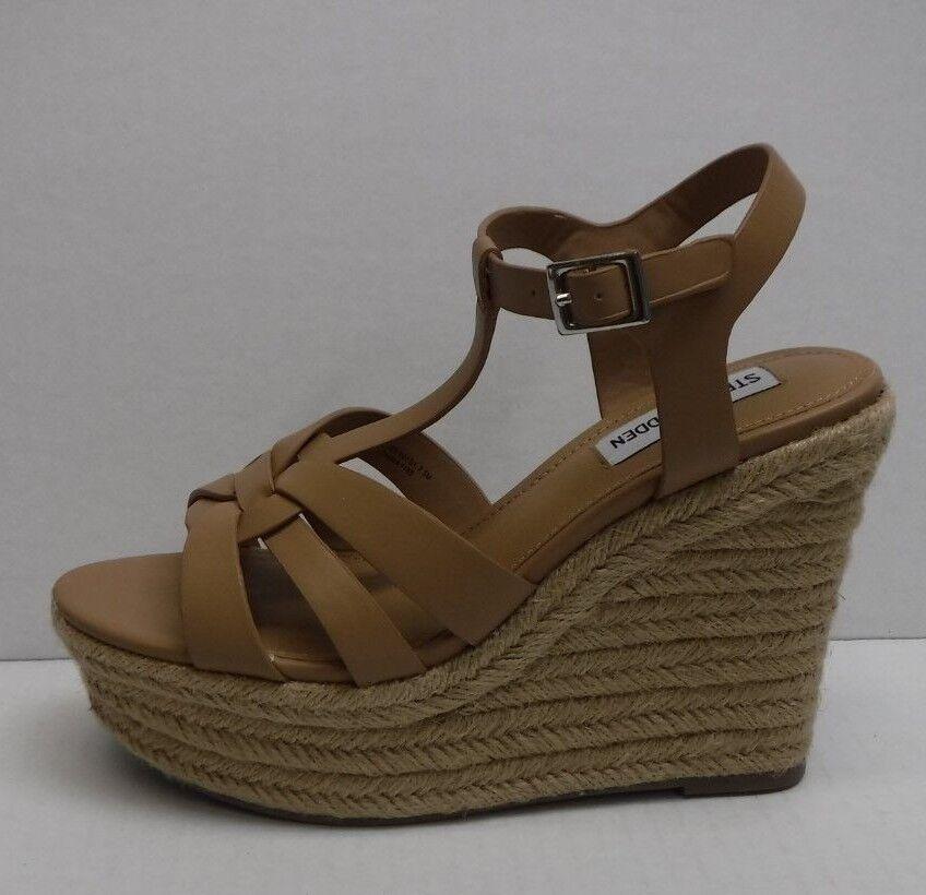 Steve Madden Beige Sandalias de Cuña De Cuero Nuevos Mujer Zapatos