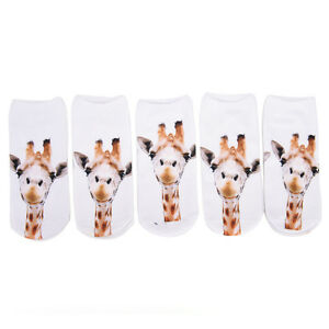 Chaussette-Imprime-Animal-Girafe-3D-Femmes-Hommes-Mignon-Coupe-BWLFR