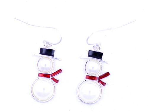 superbe cadeau de Noël les Festive perle bonhomme de neige boucles d/'oreilles
