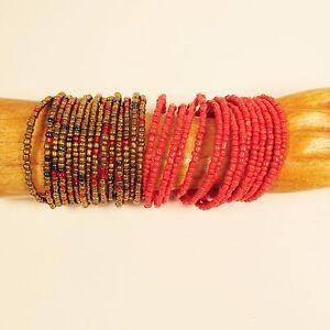 034-Set-of-2-034-Red-Gold-Multi-Strand-Beaded-Bangle-Handmade-Cuff-Bracelet-Glass-Beads