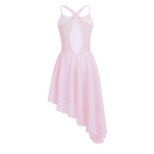 UK Girls Latin Lyrical Leotard Dress Ballet Dance Costume Kids Gym Dance wear