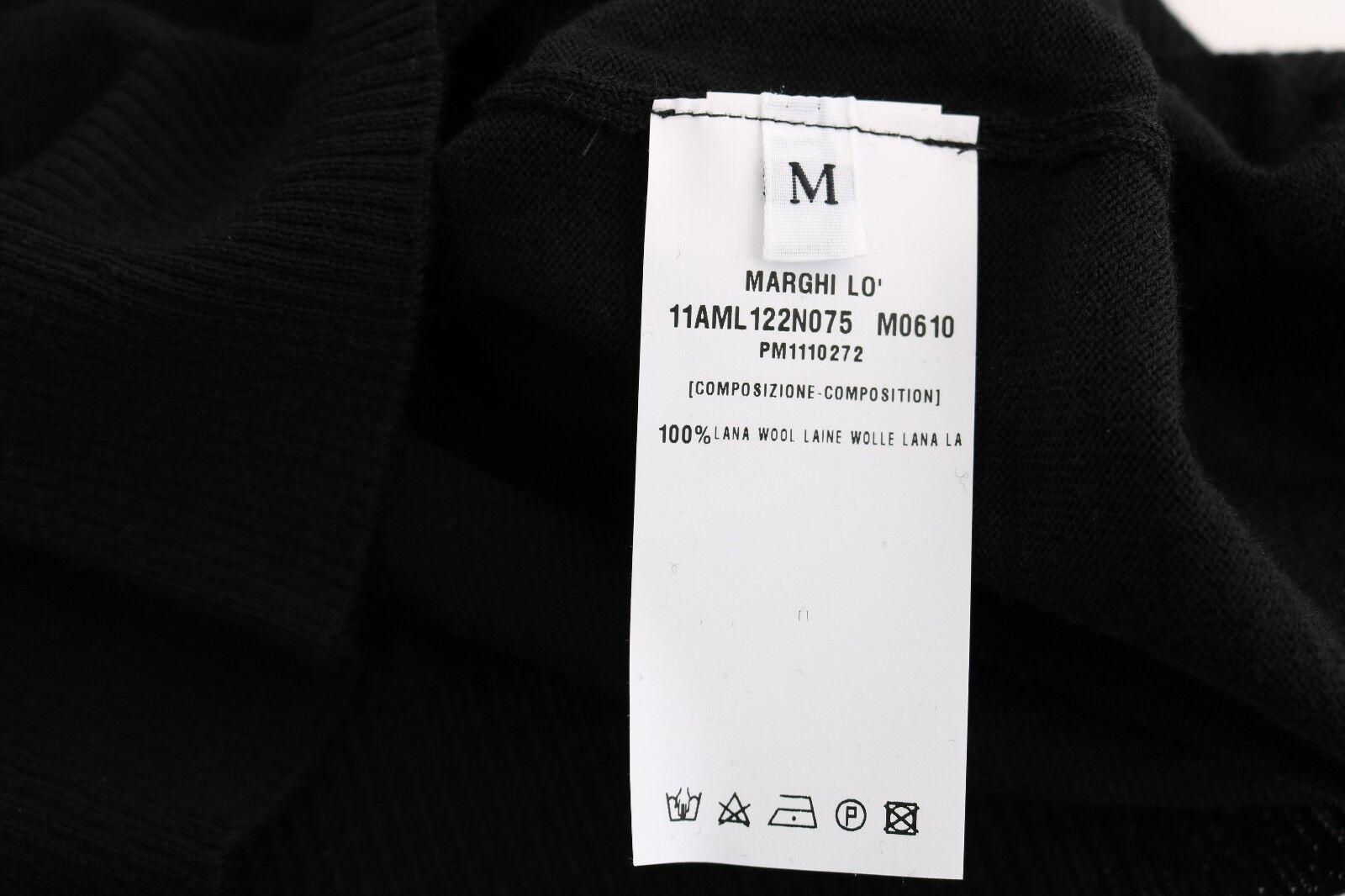 Nuovo Marghi lo 'Tubino Nero Nero Nero 100% % Lana Lana Manica Lunga S.It42   M 5879c1