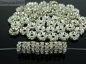 100P-Czech-Crystal-Rhinestone-Pewter-Wavy-Rondelle-Spacer-Beads-4mm-5mm-6mm-8mm
