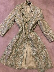 Women's Trench Mint Pea Coat Large Floral Express Green Long Jacket Nwt Atztgy
