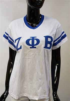 ZETA PHI BETA SORORITY V-NECK T-SHIRT BLUE WHITE SHORT SLEEVE V-NECK T-SHIRT