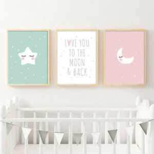 Details About Baby Nursery Wall Decor Canvas Poster Cartoon Moon Star Art Print Kids Room