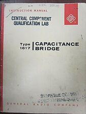 General Radio Type 1617 Capacitance Bridge Instruction Manual Form 1617 0100 C
