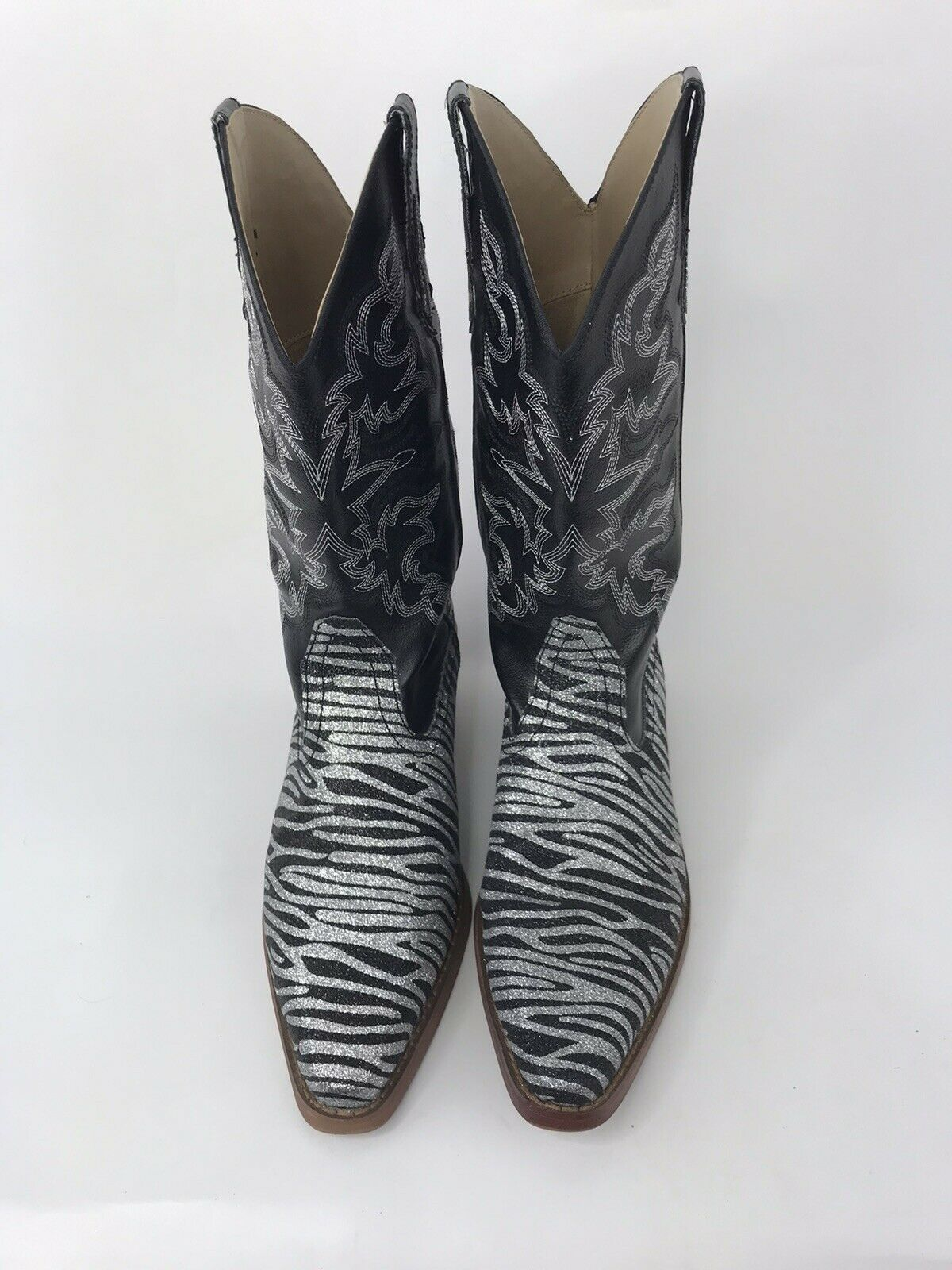 Roper Women's Cowgirl Boots 7.5 M Black Silver Ze… - image 8