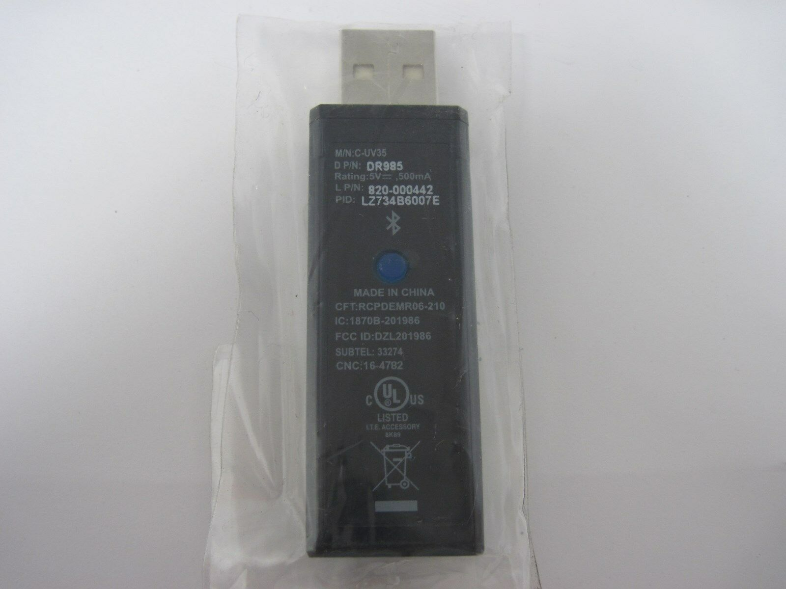 Lot of 5 NEW Dell C-UV35 USB Wireless Bluetooth Receiver Dongle DR985 820-000442