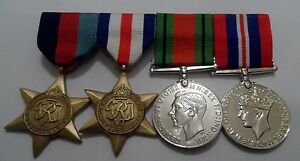 WWII-Full-Size-Swing-Mounted-Medals-World-War-2-1939-45-Star-Defence-France
