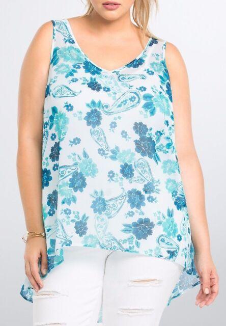 26f4c3cb864 TORRID Top 2X 3X 4X Blouse Blue Pink Floral Chiffon Plus Size Sheer ...