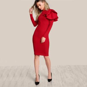 1baf78b8914f0 Vestidos Rojos Manga Larga Ropa de Moda Para Mujer Cortos Elegantes ...