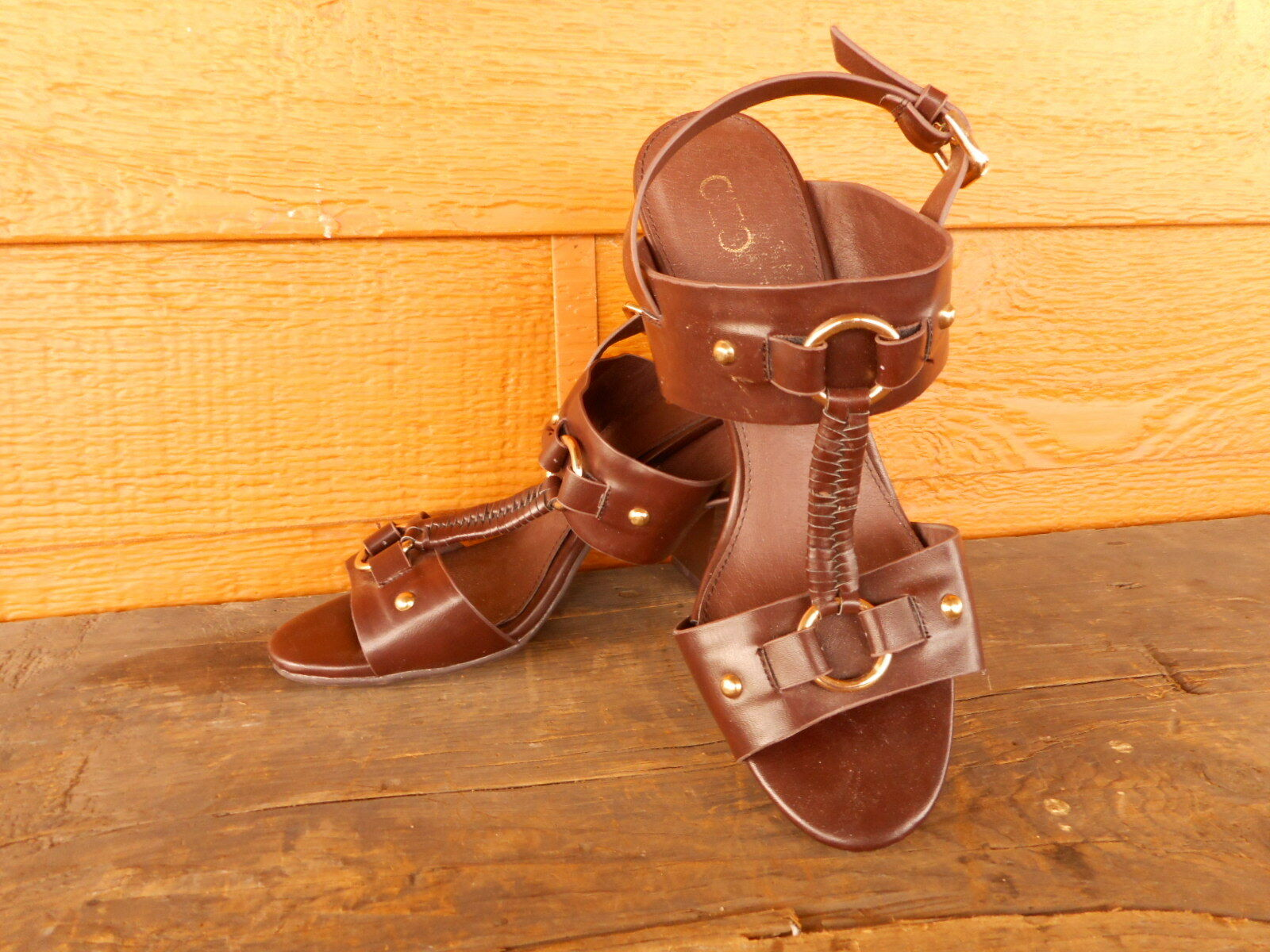 Womens Shoes Cato Brown 8M Strappy Heels Sandals Size 8M Brown Used apx 3.5