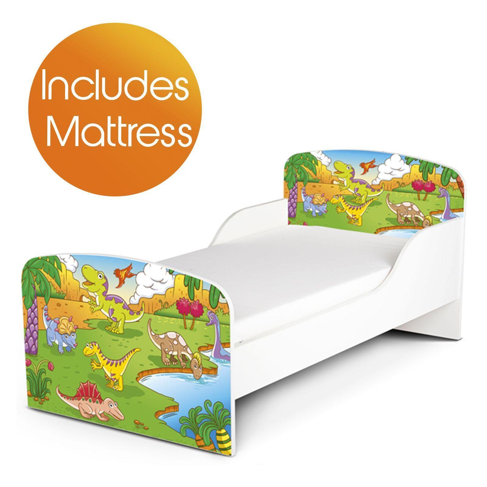 DINOSAURES MDF JUNIOR Toddler Bed & DE LUXE MATELAS NEUF CHAMBRE