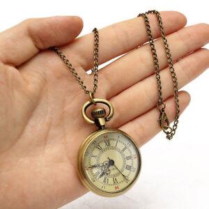 Vintage-Jewelry-Antique-Bronze-Glass-Pocket-Watch-Pendant-Chain-Necklace-Jewelry