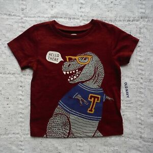 Boys-Old-Navy-Maroon-Dinosaur-Tee-shirt-Size-12-18-months-Short-Sleeves-new-tags