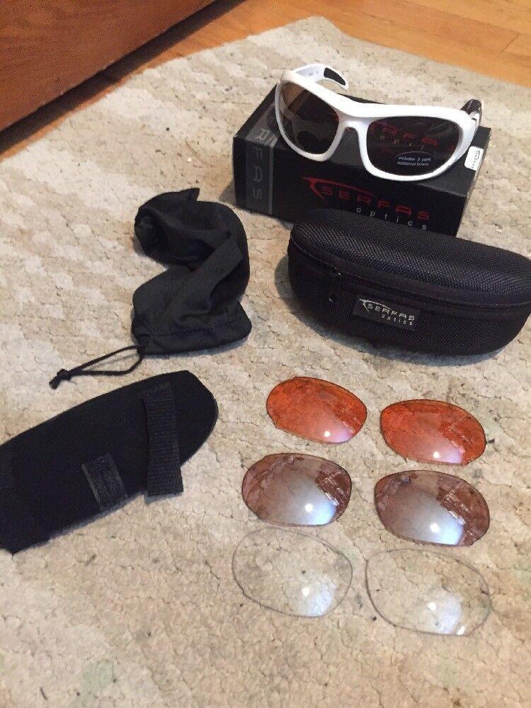 Serfas Optics Cycling Sunglasses. Squall NEW      Gloss White Frames