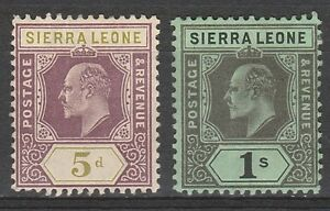 SIERRA LEONE 1907 KEVII 5D AND 1/-