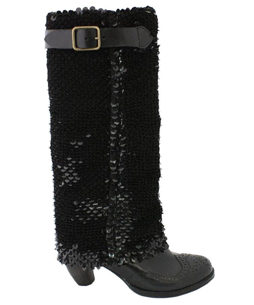 Irregular Choice Carnaby Carnaby Carnaby reina Rodilla botas 6.5 Negro Fancy Diseñador Lentejuelas Nuevo En Caja  promociones