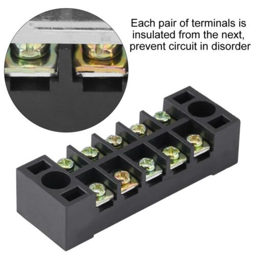 5-Position 600V 15A Dual Row Wire Barrier Block Screw Terminal Strip Block New