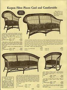 1937 Paper Ad 4 Pg Karpen Wicker Woven Fibre Furniture