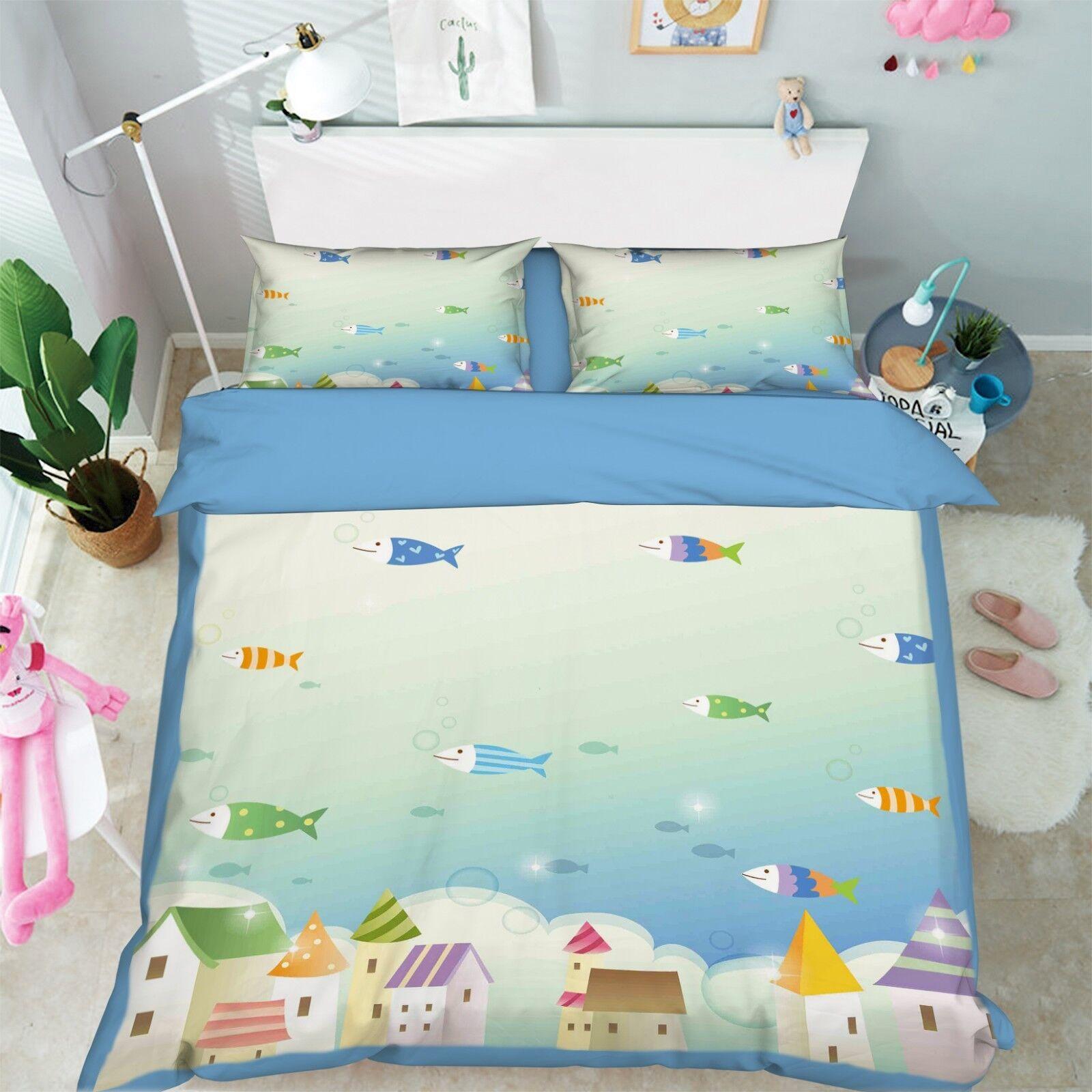 3D Ocean Fish Kids 8 Bett Pillowcases Quilt Duvet Startseite Set Single König UK Summer
