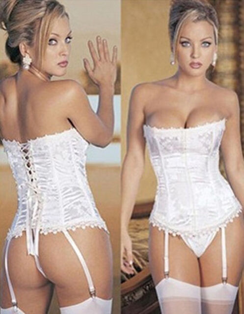 HOT New Sexy Lady' Lace Up Bustier Corset Dress Sets Basque & Lingerie/G-string