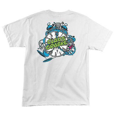 Santa Cruz Claus Grabke EXPLODING CLOCK Skateboard Shirt WHITE XXL
