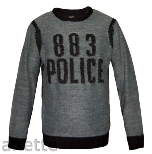 883 POLICE MADDOCK Mens Jumper Ribbed Trim Grey Black Acrylic Milano Top BNWT