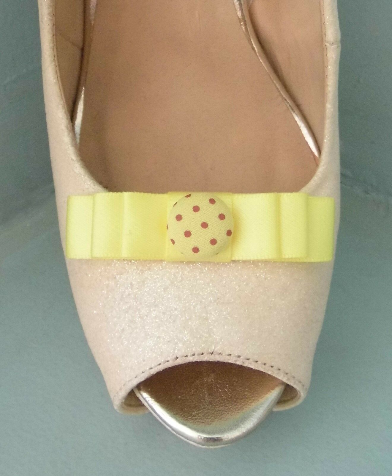 2 Small Lemon Bow Clips for Shoes with Spotted Button Centre