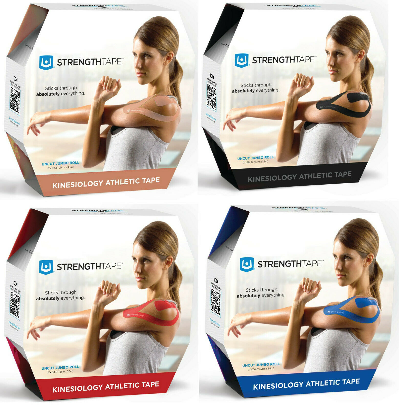 STRENGTHTAPE Kinesiology Long-Lasting  Athletic Tape 35m Uncut Roll - 4 COLORS  all in high quality and low price