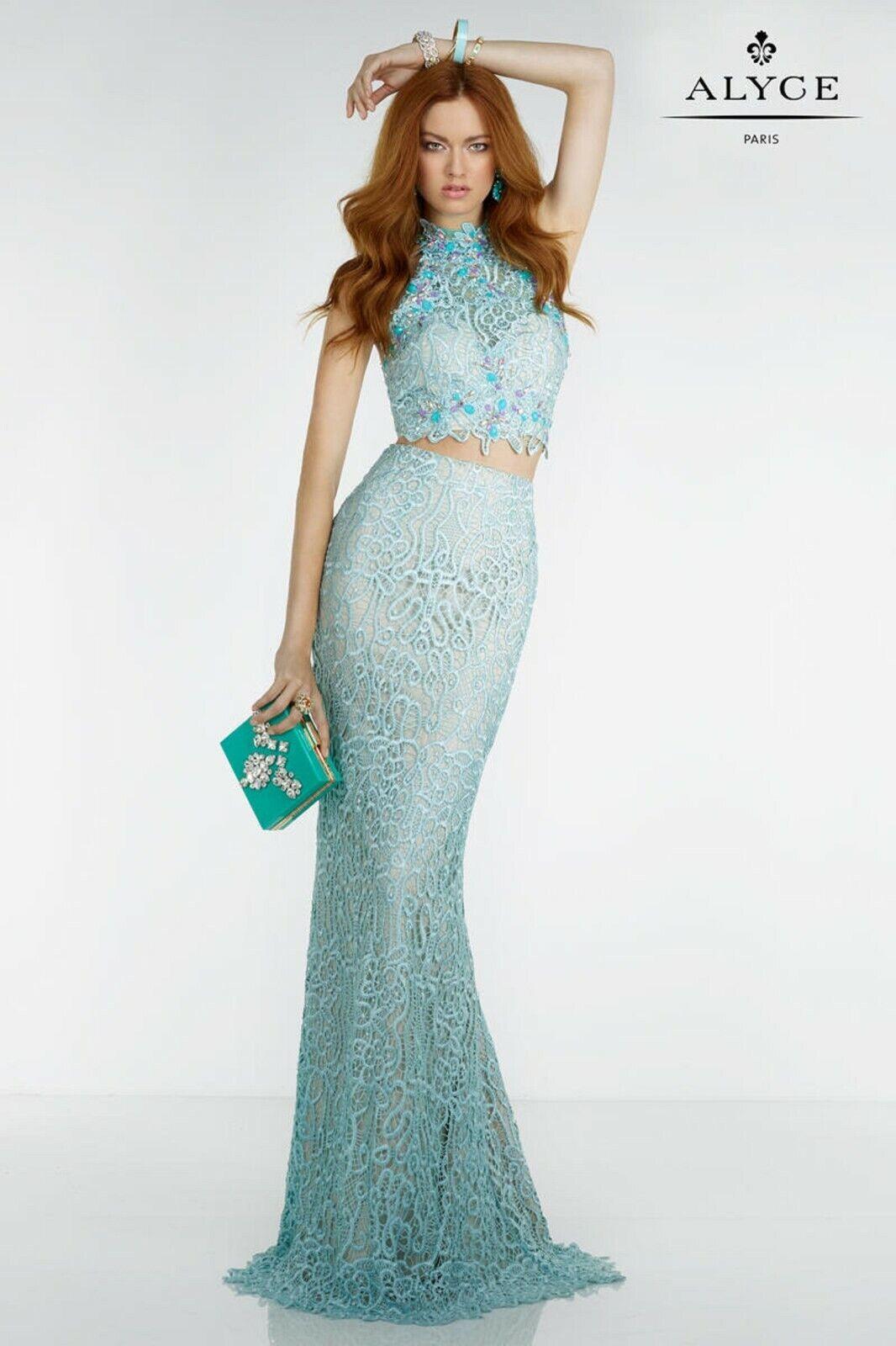 NWT Size 10 two piece lace jeweled formal gown Alyce Paris 6521 Aqua prom dress
