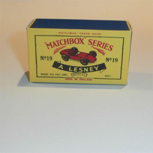 Matchbox Lesney 19 c Aston Martin Racing Car empty Repro C style Box