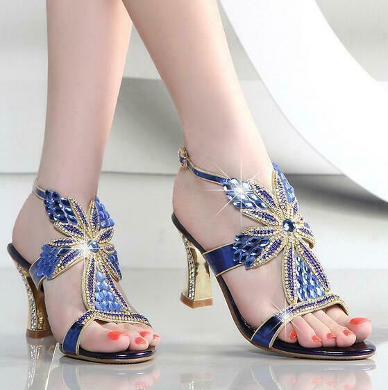 Women Wedding Bridal Low Heel Glitter Rhinestone Dress Casual Sandal shoes 04031