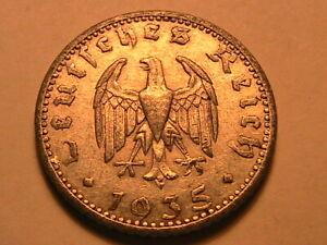 1935-A-50-Pfennig-Germany-AU-Lustrous-Fifty-Reichspennig-German-Deutsche-Coin